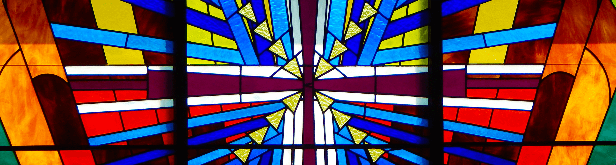 Stained glass window of Forest Oaks Lutheran Church